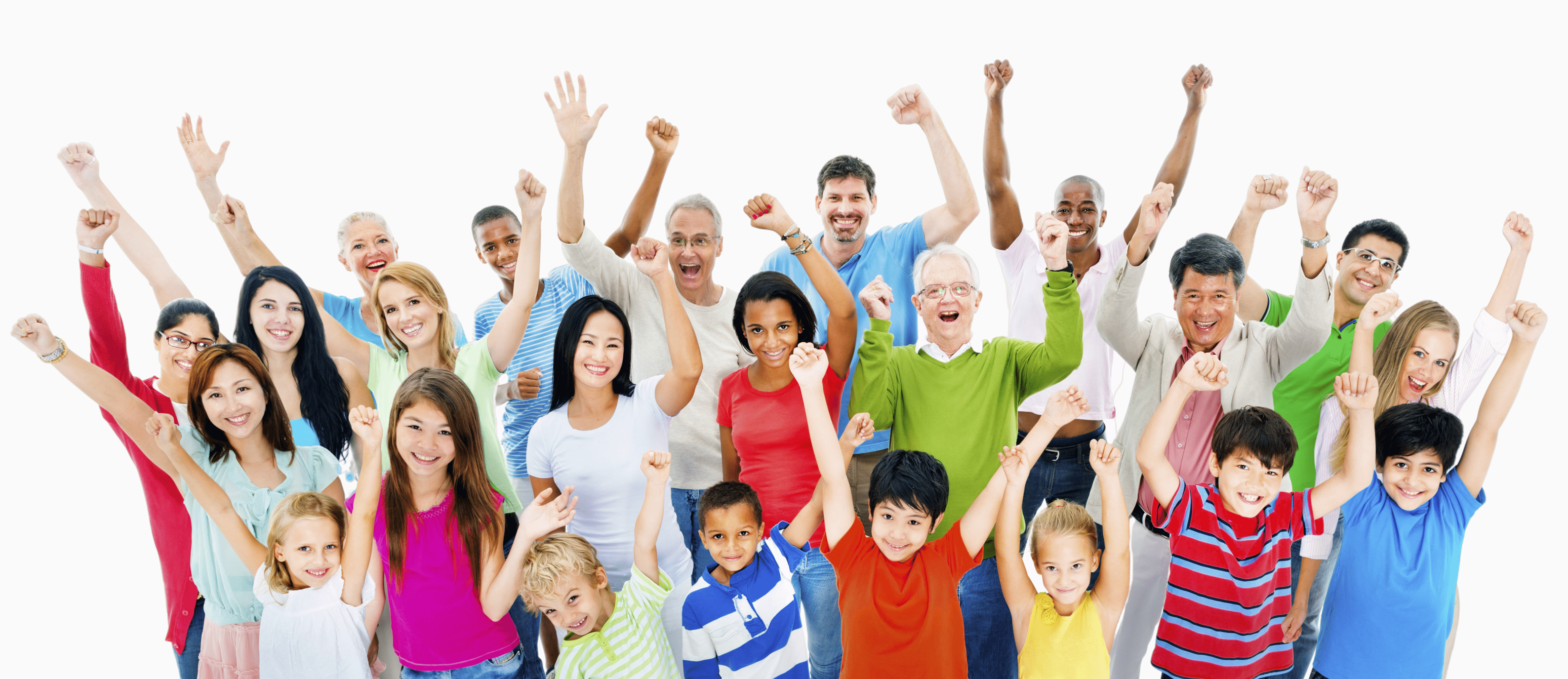 group of people with hands in the air